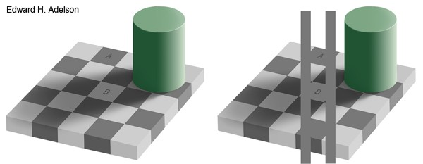 Grey square optical illusion by Edward Adelson
